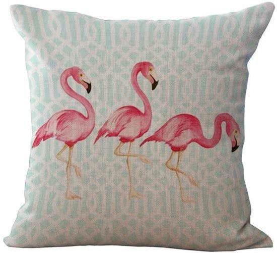 bol com   Flamingo kussen hoes met blauw patroon   45 x 45 cm   Sierkussen kussenhoes   REBL