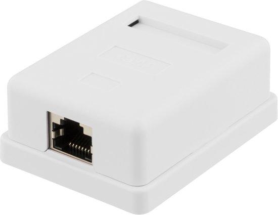 DELTACO VR-216, Monitor wandcontactdoos, oppervlak FTP, 1x RJ45, Cat6, wit