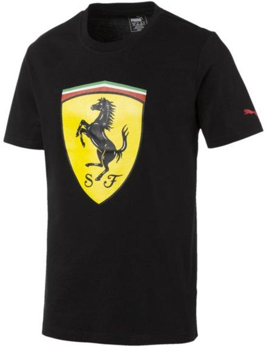 PUMA Ferrari Big Shield Tee Heren - Cotton Black