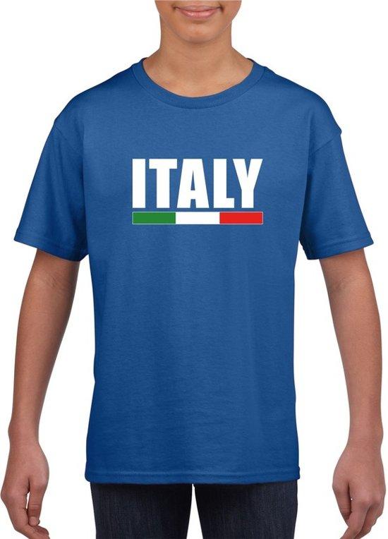 Blauw Italie supporter t-shirt voor heren - Italiaanse vlag shirts XS (110-116)
