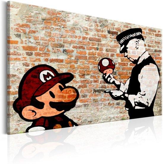 Schilderij - Mario en Politieagent op rode baksteen , Banksy , baksteenlook