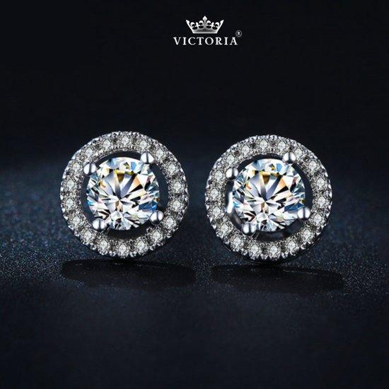 Victoria - Zilverkleurige Oorbellen - Topkwaliteit AAA Zircone Kristallen