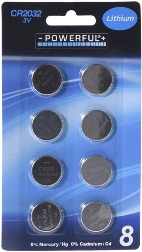 3V CR2032 Powerfull Lithium  Batterijen - 8 stuks