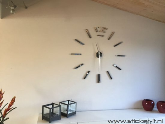 Ks008 grote moderne 3d wandklok zilver - Moderne klok ...
