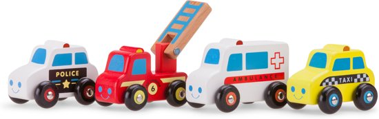 New Classic Toys - Voertuigenset - 4 Auto's - Politieauto - Brandweerauto - Ambulance - Taxi