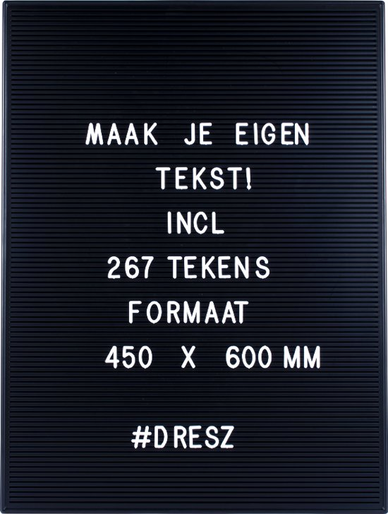 Letterbord zwart Dresz 60x45 cm