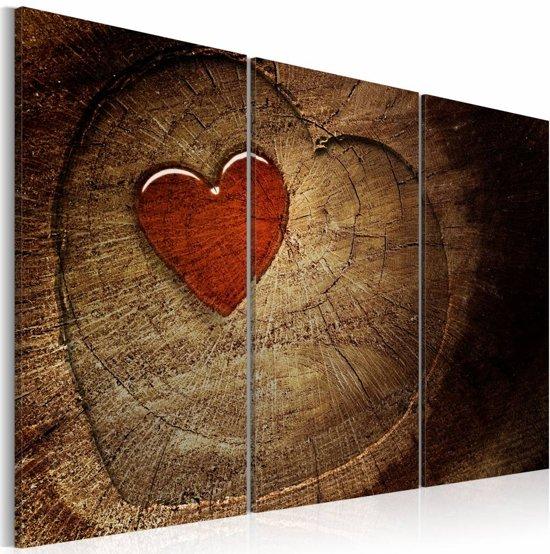 Schilderij - Oude liefde roest niet - 3 luik , rood bruin