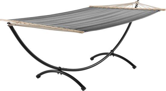 Katoenen hangmat met metalen standaard - grijs