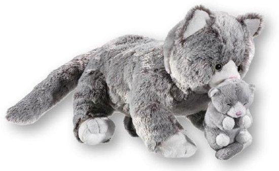 Nieuw bol.com | Grijze pluche poes met kitten knuffel 32 cm, Merkloos NT-77