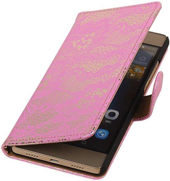 Hoesjescases.nl - Roze bloem design bookcase voor de Samsung Galaxy J3 2016 in Friens