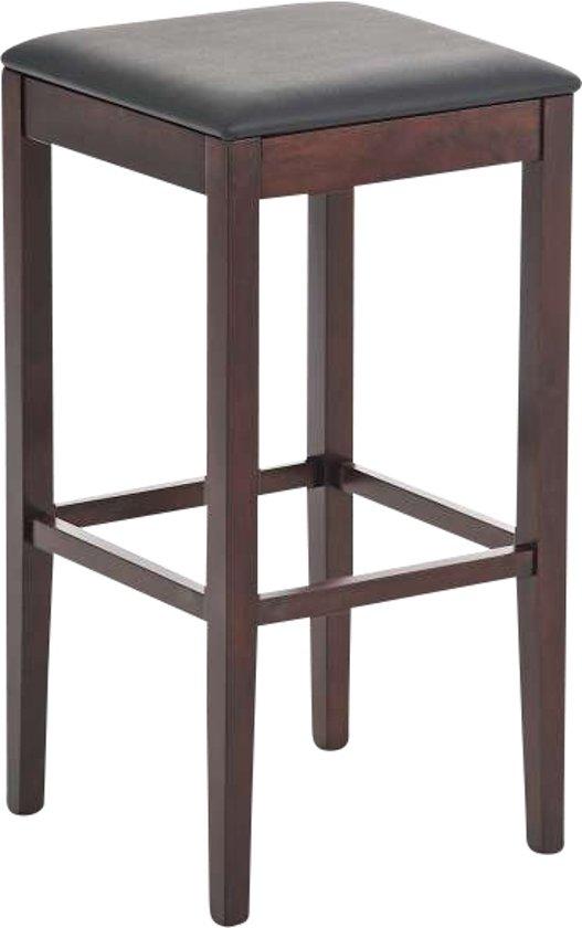 Clp Barkruk ROCKET barstoel, tafelkruk - houten onderstel, leuningvrij, kubus, imitatieleer - cappuccino/zwart kleur onderstel :cappuccino