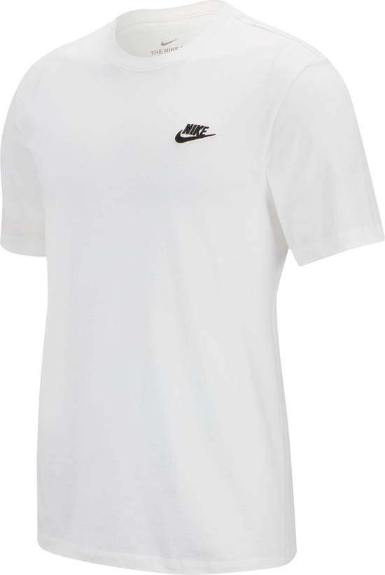 Nike NSW Club Tee Shirt Heren - White/(Black) - Maat M