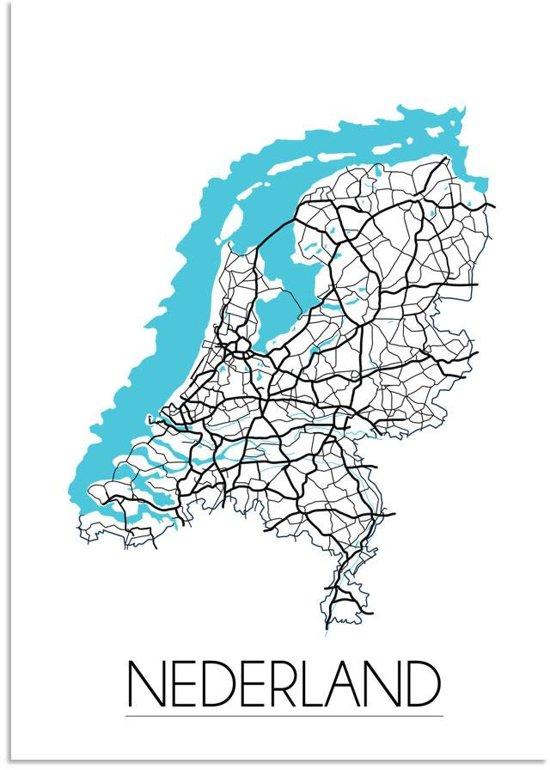 Plattegrond Nederland Landkaart poster DesignClaud - Wit - A4 + Fotolijst zwart