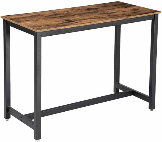 Vintage Hoge Tafel voor een Bar of Keukenruimte - Solide Metalen Frame - 120x60x90cm - Zwart/Bruin