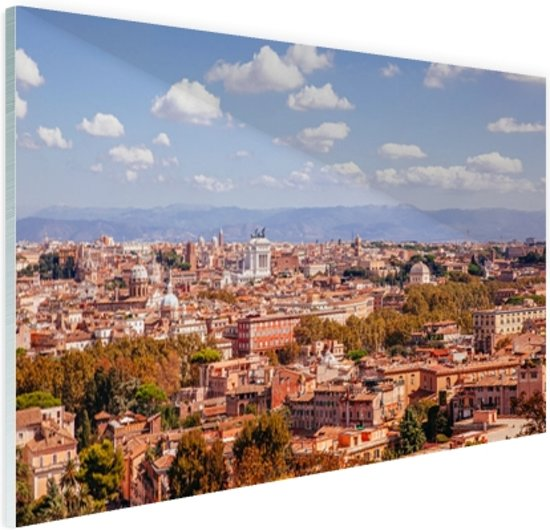 Uitzicht op Rome Glas 30x20 cm - Foto print op Glas (Plexiglas wanddecoratie)