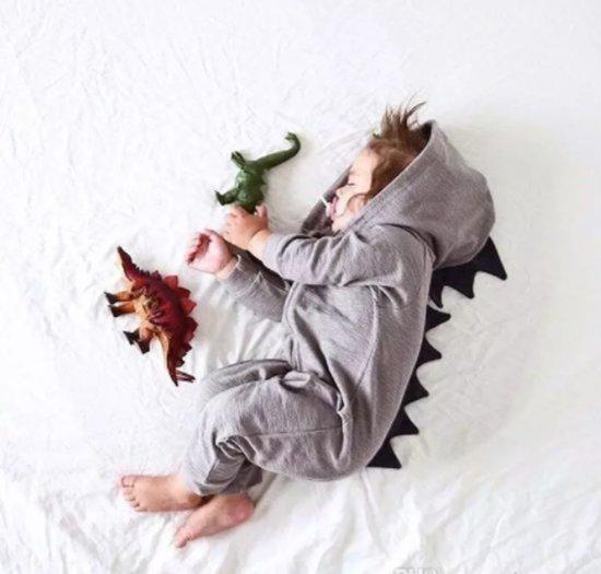 Dinosaurus Dino Draak Onesie Baby Romper Dier Grijs 90