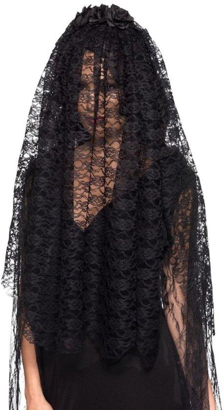 Zwarte bruidsluier met rozen voor volwassenen - Verkleed accessoires