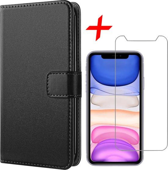 iPhone 11 Hoesje + Screenprotector Case Friendly - Book Case Portemonnee - iCall - Zwart