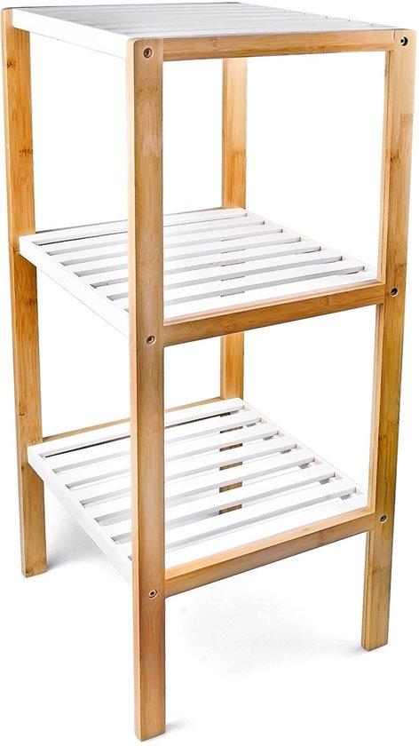Relaxdays Kast Bamboe Hout 3 Planken Open Kastje Wit Bruin Badkamerkast Keuken