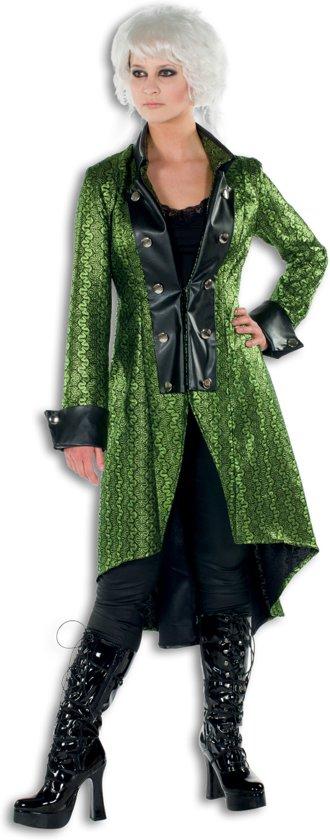 Duivels dames jas lang metallic groen