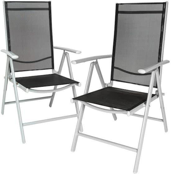 Maxx 2x aluminium tuinstoel / tuin stoel zilver - zwart
