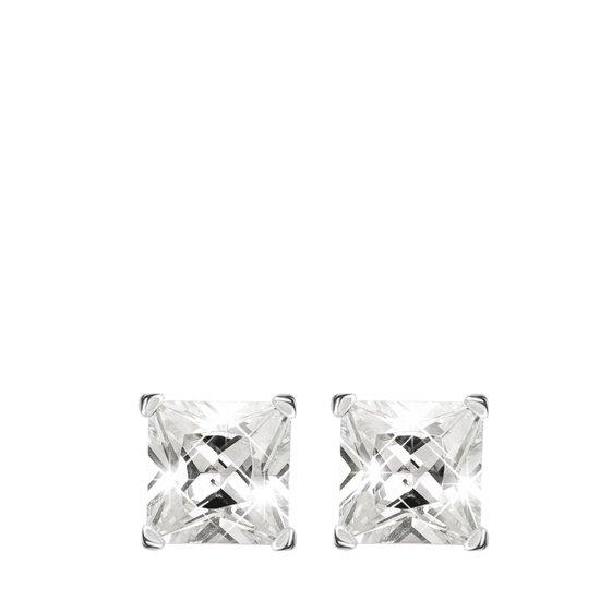 Lucardi - Zilveren oorbellen met witte zirkonia vierkant