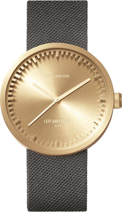 LEFF amsterdam tube watch D38 brass / grey nylon-leather strap