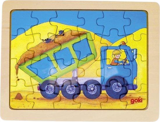 Goki Houten Legpuzzel Kiepwagen 19 X 14,5 Cm 24 Stukjes