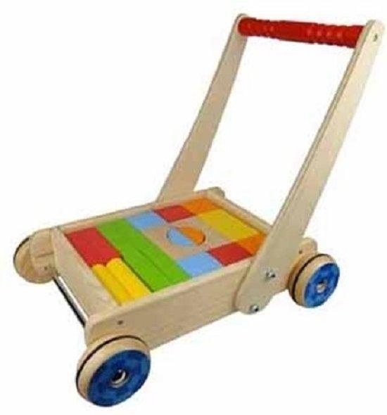 Houten blokkenkar met blokken speelgoed