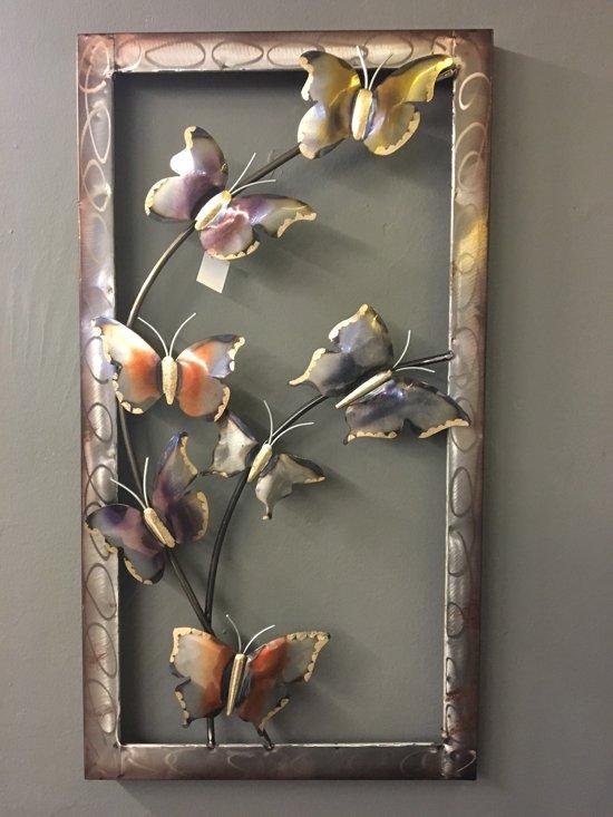Wanddecoratie Buiten Metaal.Bol Com Wanddecoratie Metaal Vlinders Metaal Ca 43 5 X 81 Cm