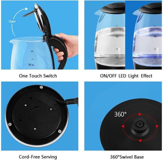Aigostar Adam 30GOM - Glazen Waterkoker met LED - Zwart