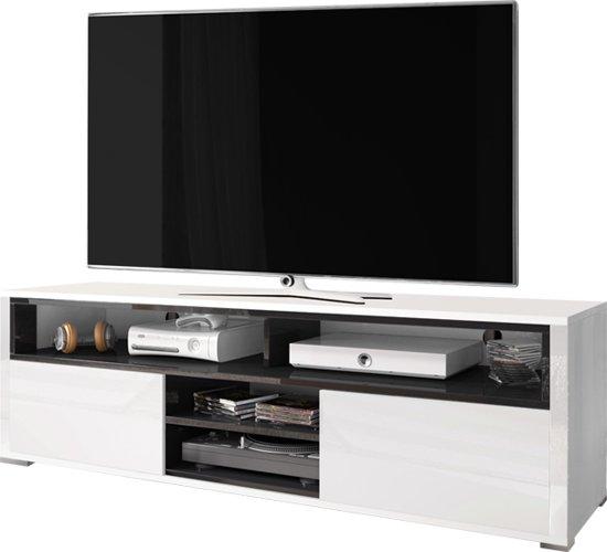 Tv Meubel Tv Kast Mario Design 137 Cm Wit Met Zwarte Afwerking