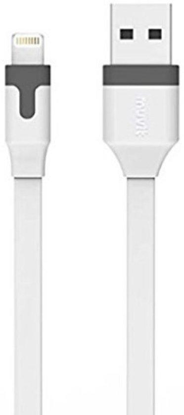Muvit USB datakabel met Apple lightning connector - wit - 2.4 Amp - 1m