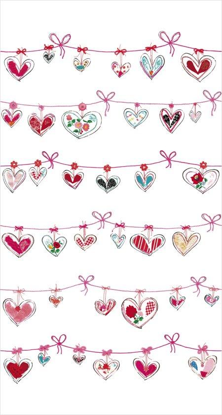 Fotobehang - Ribbon hearts - Hanneke de Jager - Roze/Rood - 150x280 cm