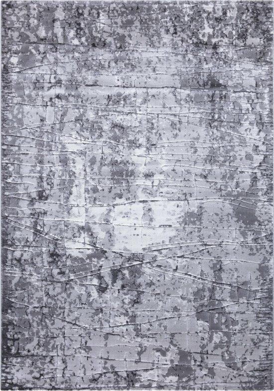 Mykonos Basic Vloerkleed Marmerlook - 80x150cm - Grijs - Laagpolig