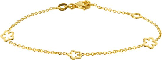 The Kids Jewelry Collection Armband 3 X Bloem 1,2 mm 13 + 2 cm - Geelgoud