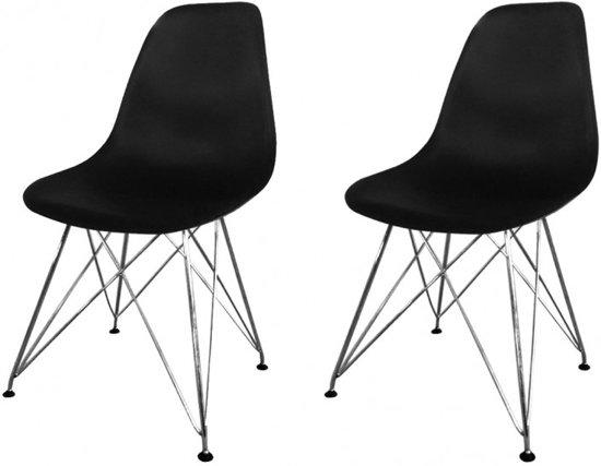 bol.com | Moderne Zwarte eetkamer stoel - set van 2