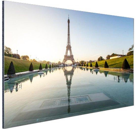 Eiffeltoren bij dag Parijs Aluminium 90x60 cm - Foto print op Aluminium (metaal wanddecoratie)