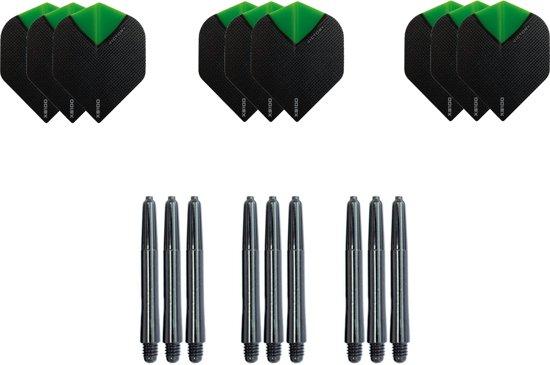 Dragon darts - Dartset - 3 sets darts flights en 3 sets nylon darts shafts - 18 pcs - groen