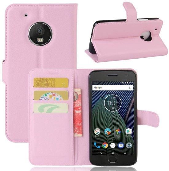 GSMWise - Motorola Moto G5 - PU Lederen Portemonnee Case met Kaarthouder Lychee - Roze