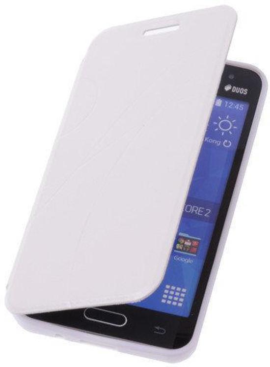 TPU Samsung Galaxy Core 2 G355H Booktype Lijn Motief Hoesje Wit