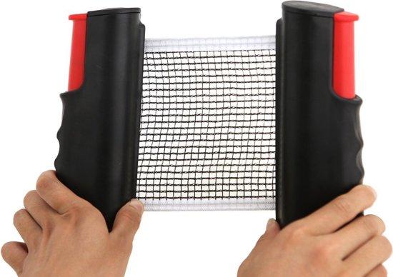 Pocket Tafel Tennis Net | Ping Pong Reis Net | Tafeltennis Net Uitschuifbaar tot 2 meter | Zwart/Rood