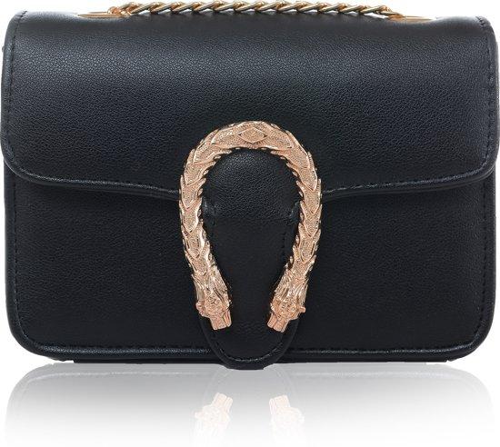 4d13aab01b091f bol.com | Dames tas - schoudertas - Metalen slang - chique - zwart ...