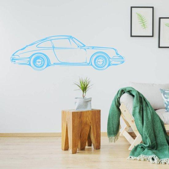 Muursticker Porsche -  Lichtblauw -  80 x 23 cm  - Muursticker4Sale