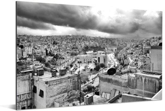 Zwart wit afbeelding van Amman Aluminium 90x60 cm - Foto print op Aluminium (metaal wanddecoratie)