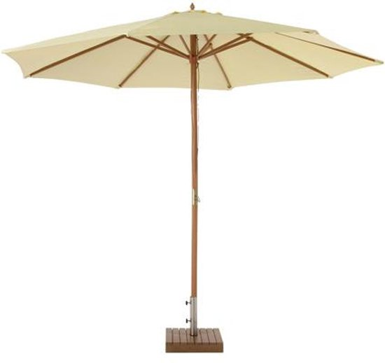 Awesome parasol polyester en hout ecru kleur meter voet for Tuinposters intratuin
