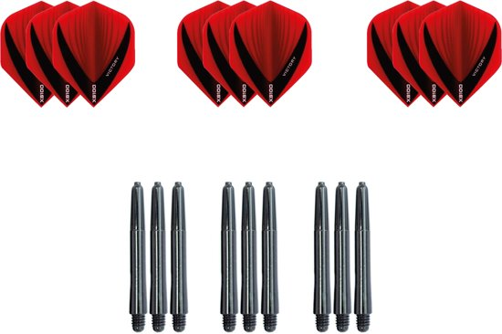 Dragon darts - Dartset - 3 sets V dart flights en 3 sets nylon darts shafts - 18 pcs - rood - darts flight