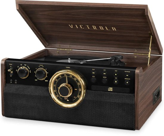 VICTROLA Muziek Center Muziek Center Vinyl-Radio-CD-Bluetooth - Mahonie