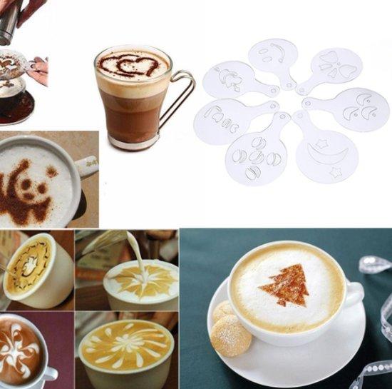 Epin 3D - Cappuccino sjabloon - Herbruikbaar Barista Set - Cacao Sjablonen - 16 stuks