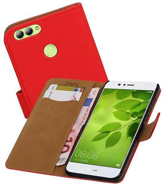 Mobieletelefoonhoesje.nl - Huawei Nova 2 Hoesje Effen Bookstyle Rood in Visé